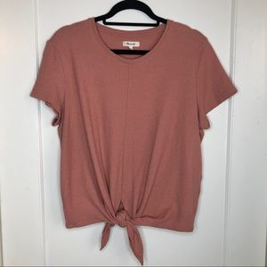 Madewell Tie Front Blouse Terry cloth blush pink L